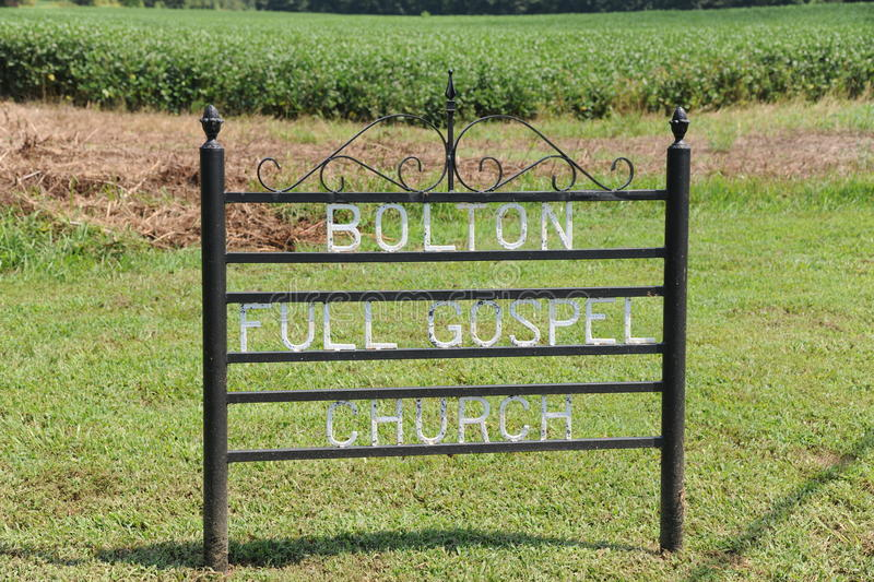 Bolton Full Gospel Church Sign Arlington, TN. stock photography