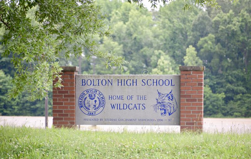Bolton High School, Home of the Wildcats. Bolton High School Wildcats, serving students in the Tennessee city of Bolton in grades 6th through 12th royalty free stock image