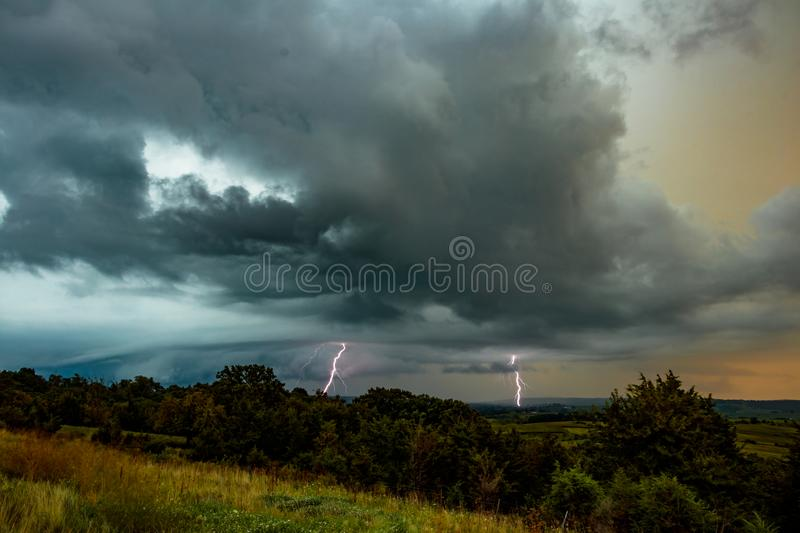 Thunderstorn at sunset over mid-western landscape. stock photography