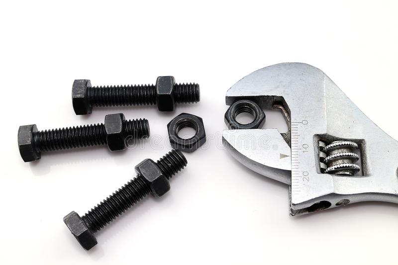 Bolts and nut. On white background stock photo
