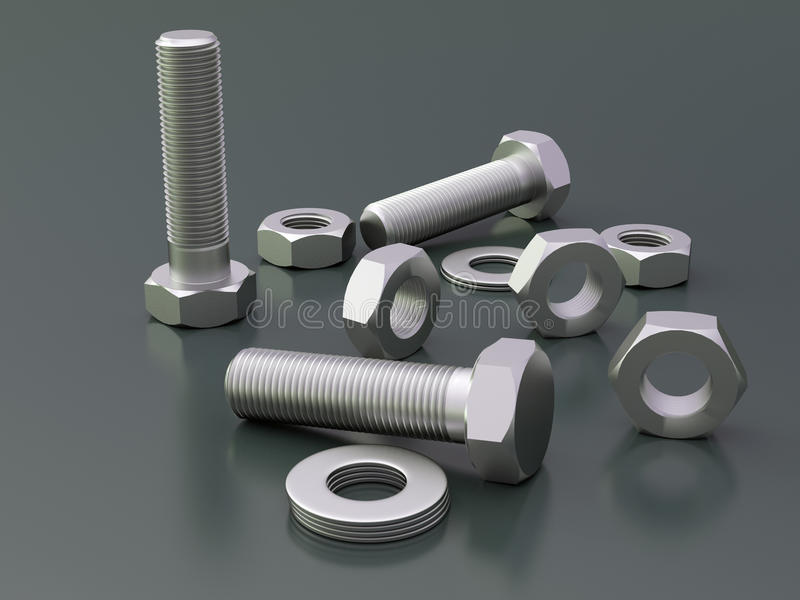 Bolts and nuts. Dark background with bolts and nuts stock illustration