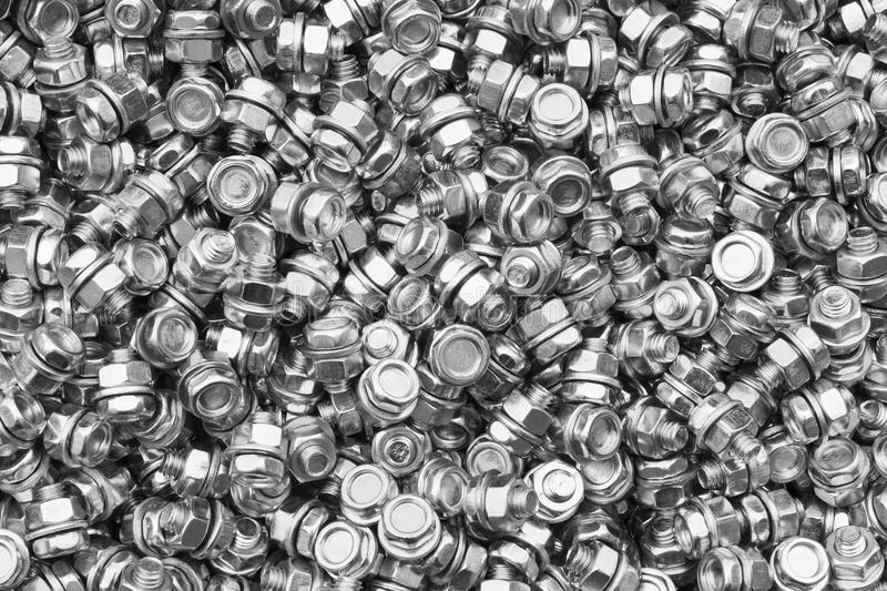 Bolts,nuts with washers. The same size stock image