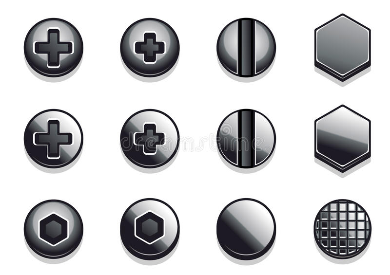 Bolts and rivets. On white backgrounds vector illustration