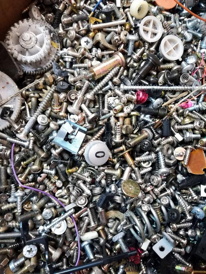 bolts and screws in the box royalty free stock image
