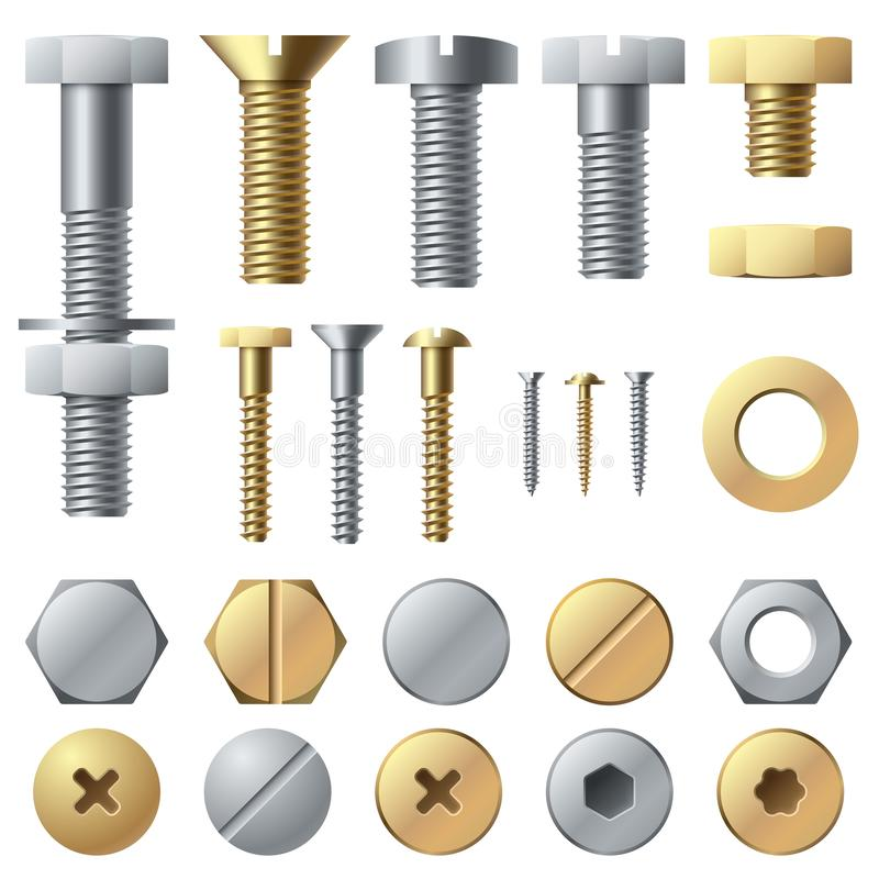 Bolts and screws. Washer nut hardware rivet and bolt. Chrome fasteners isolated vector set. Bolts and screws. Washer nut hardware rivet and bolt. Chrome stock illustration