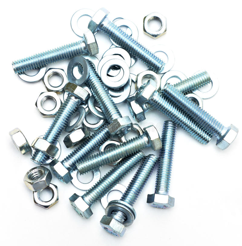 Bolts screws washers. Bolts washers screws isolated on white background stock photos