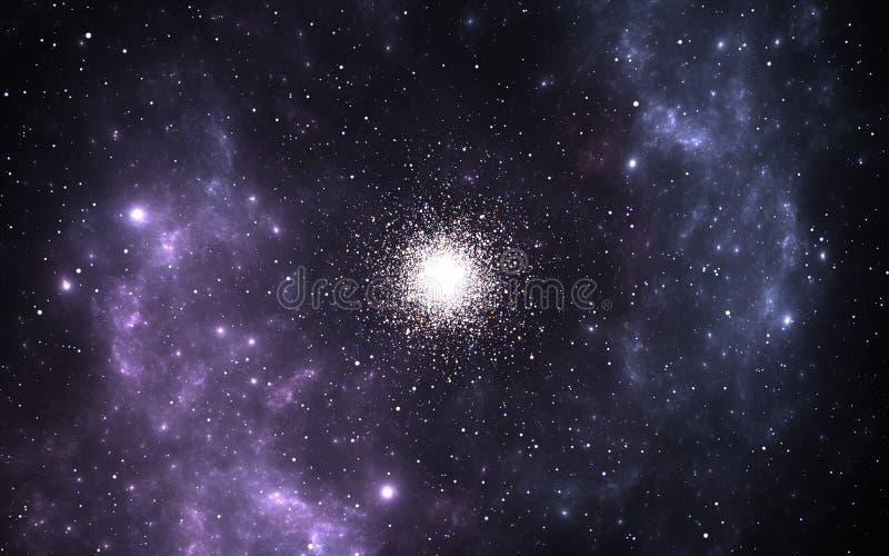 Bolvormige cluster, sferische inzamelingen van oude sterren die een galactische kern cirkelt royalty-vrije illustratie