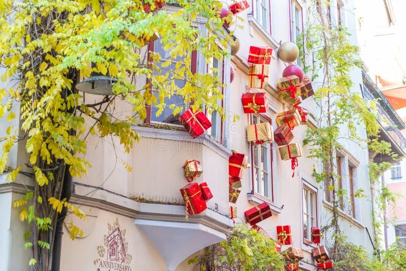 Bolzano en janvier 2017 Marché traditionnel de Noël du cente photo stock