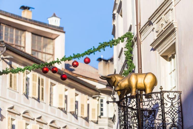 Bolzano en janvier 2017 Marché traditionnel de Noël du cente photos stock