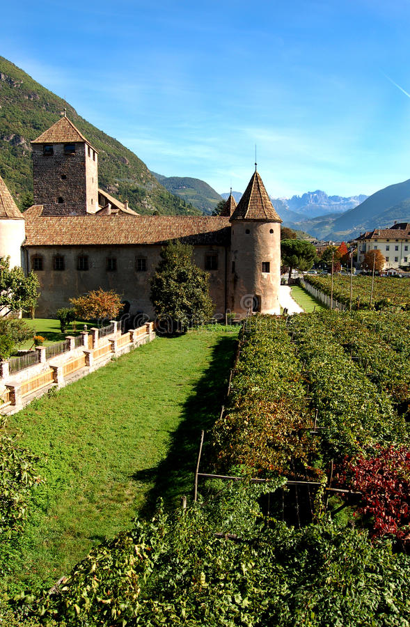 Bolzano, Italy – Castle Mareccio. A medieval castle among vineyards in Bolzano, Italy royalty free stock image