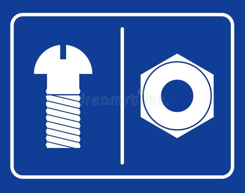 Bolzen- und Nusstoilettenzeichen Symbolöffentliche toilette Männliche Mühe des Zeichens stock abbildung