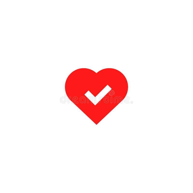 Bom ícone aprovado da saúde do coração ilustração do vetor