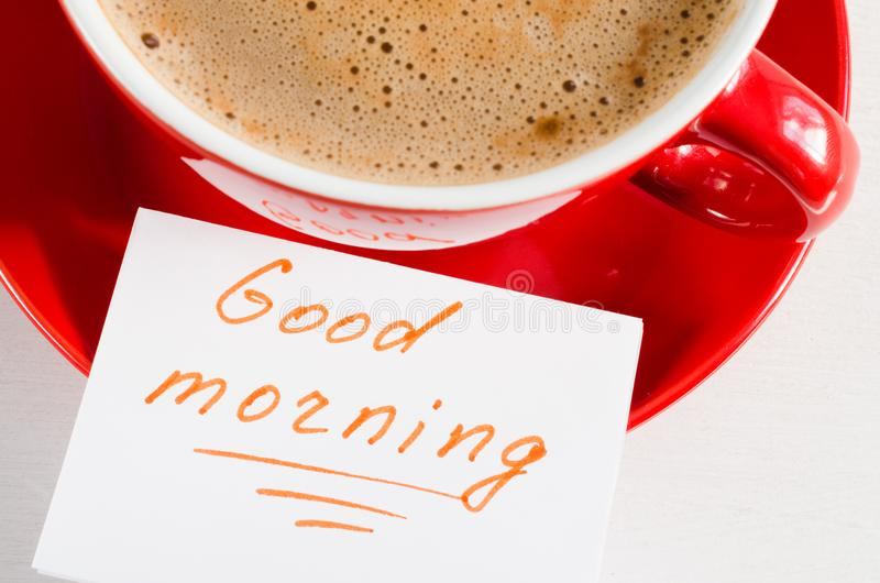 Bom dia da caneca e das notas do cappuccino foto de stock royalty free