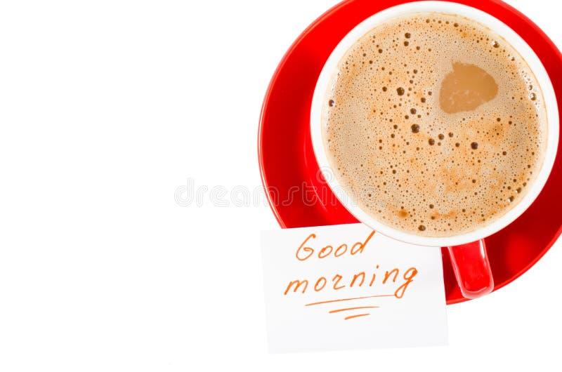Bom dia da caneca e das notas do cappuccino foto de stock