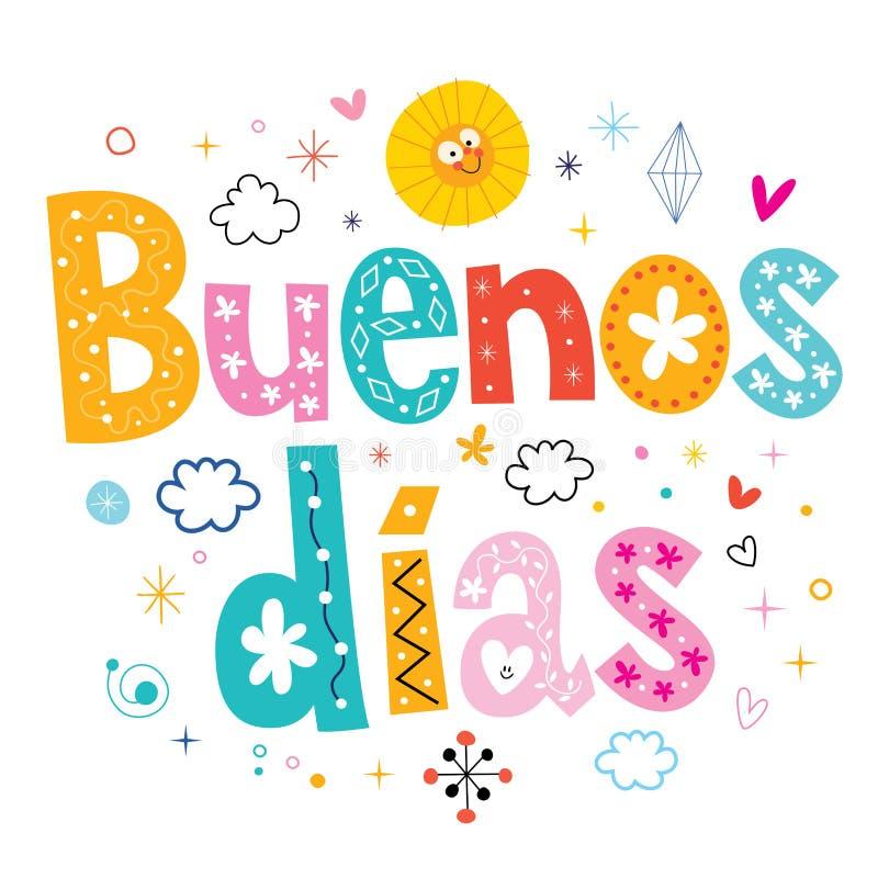 Bom dia do bom dia dos dias de Buenos no espanhol ilustração stock