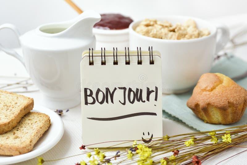 Bom dia do café da manhã e do texto em francês fotos de stock royalty free