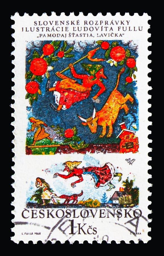 Bom dia do `, pouco ` do banco, serie nacional eslovaco dos contos de fadas, cerca de 1968 imagem de stock royalty free