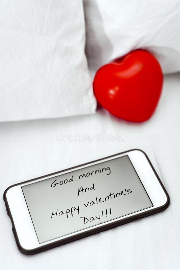 Bom dia do texto e dia de Valentim feliz foto de stock