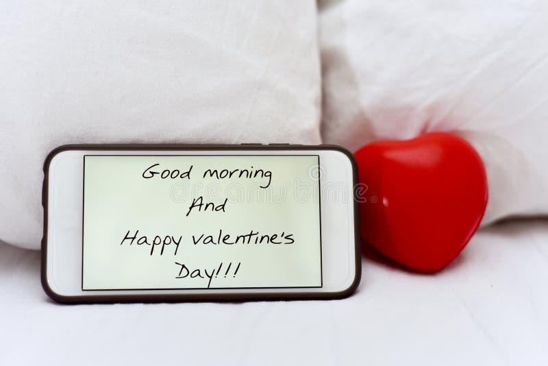 Bom dia do texto e dia de Valentim feliz fotos de stock