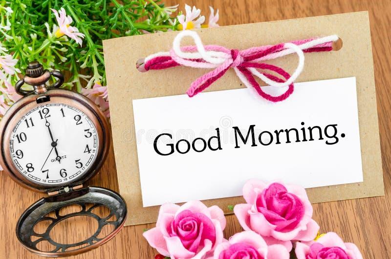 Bom dia e relógio de bolso fotografia de stock royalty free