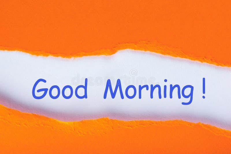 Bom dia - a inscrição descobre dentro a letra alaranjada Conceito positivo imagem de stock