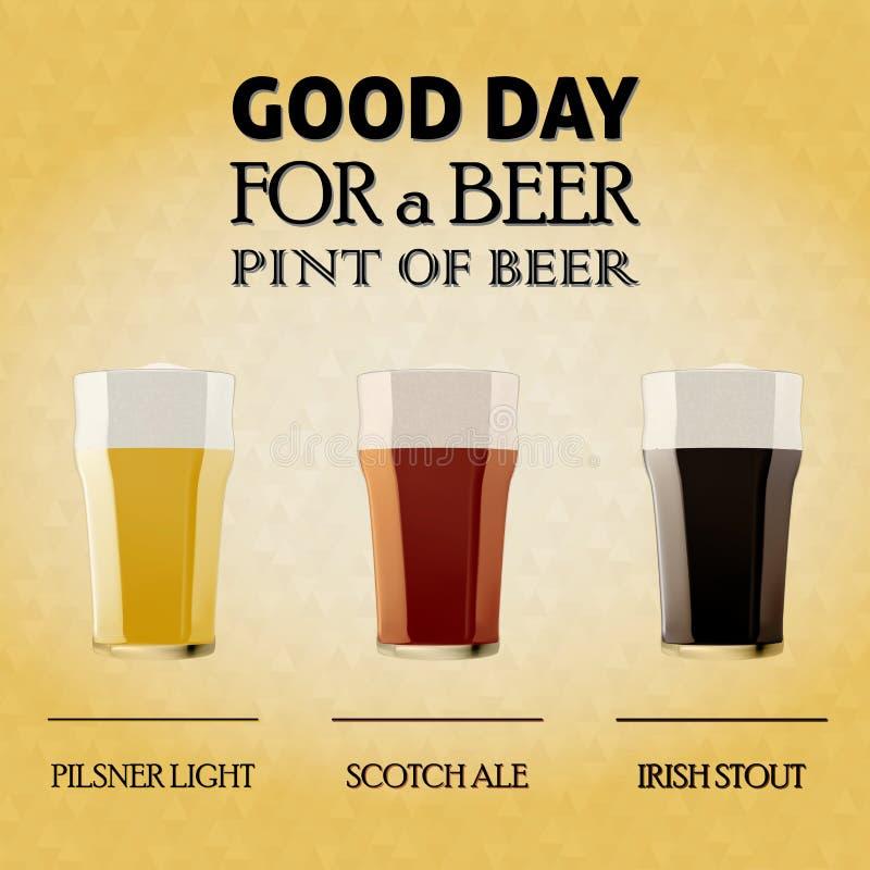 Bom dia para uma cerveja, pinta da cerveja ilustração do vetor
