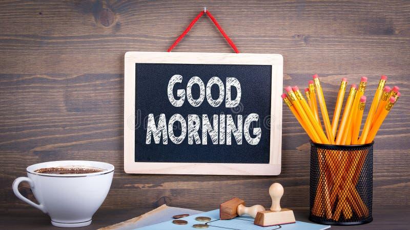 Bom dia Quadro em um fundo de madeira foto de stock royalty free