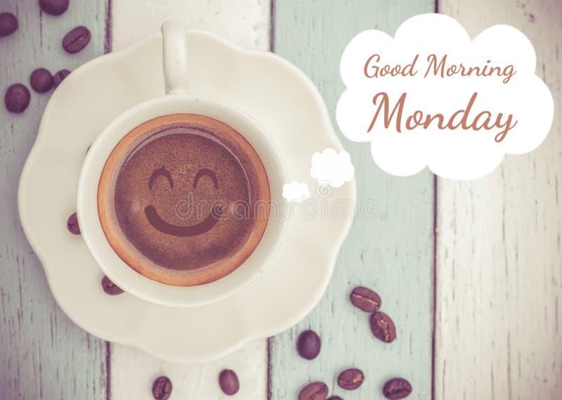 Bom dia segunda-feira com copo de café imagem de stock