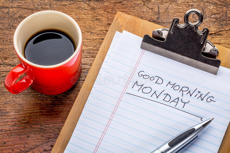 Bom dia, segunda-feira na prancheta fotografia de stock royalty free