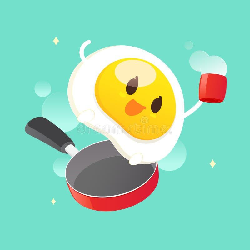 Bom dia, sorriso para o café da manhã doce ilustração do vetor