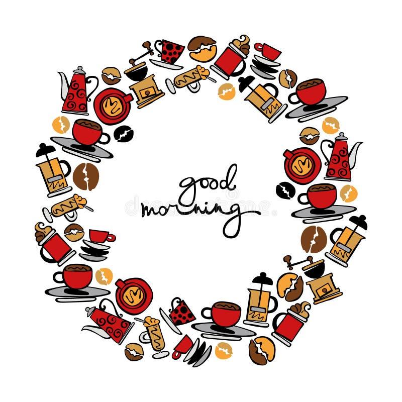 Bom dia Teste padrão do café imagens de stock