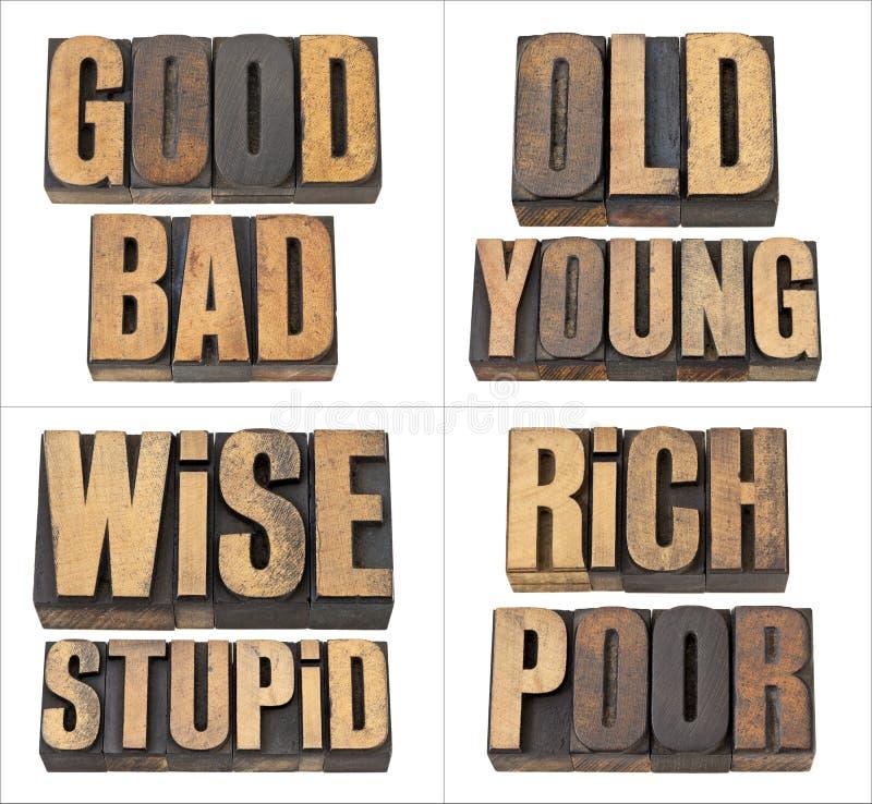 Bom e mau, ricos e pobres fotos de stock royalty free