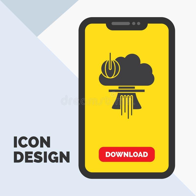 Bom, explosie, kern, speciaal, het Pictogram van oorlogsglyph in Mobiel voor Downloadpagina Gele achtergrond stock illustratie