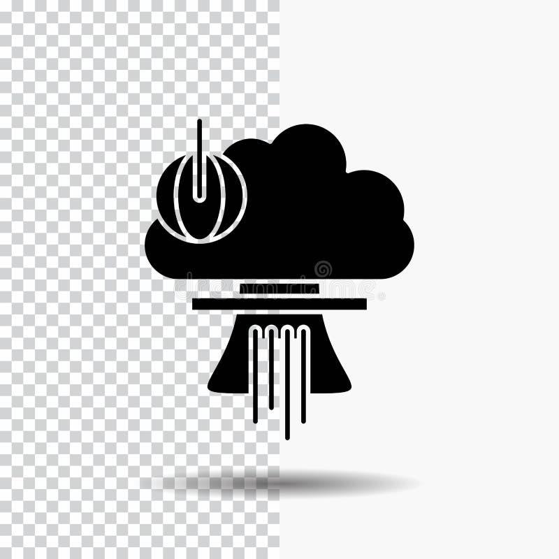 Bom, explosie, kern, speciaal, het Pictogram van oorlogsglyph op Transparante Achtergrond Zwart pictogram stock illustratie