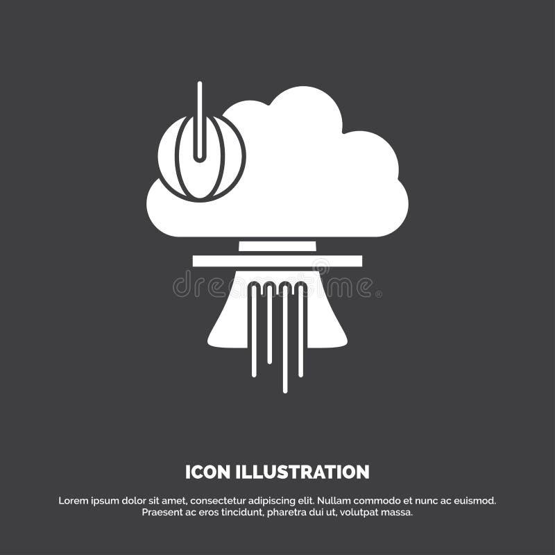 Bom, explosie, kern, speciaal, oorlogspictogram glyph vectorsymbool voor UI en UX, website of mobiele toepassing vector illustratie
