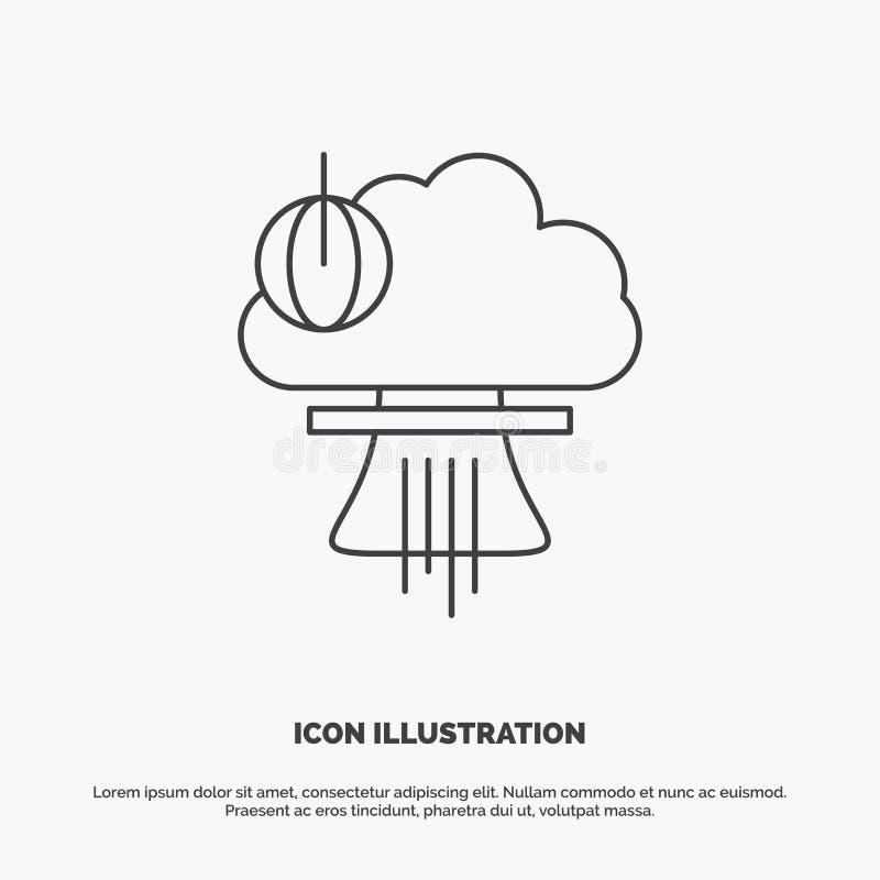 Bom, explosie, kern, speciaal, oorlogspictogram Lijn vector grijs symbool voor UI en UX, website of mobiele toepassing royalty-vrije illustratie