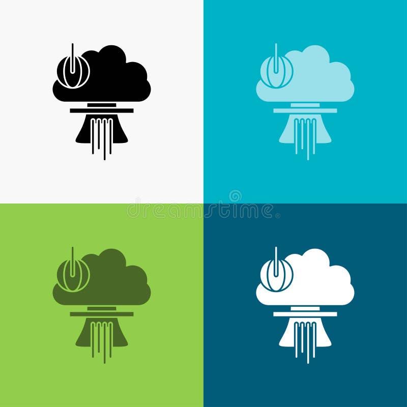 Bom, explosie, kern, speciaal, oorlogspictogram over Diverse Achtergrond glyph stijlontwerp, voor Web dat en app wordt ontworpen  royalty-vrije illustratie