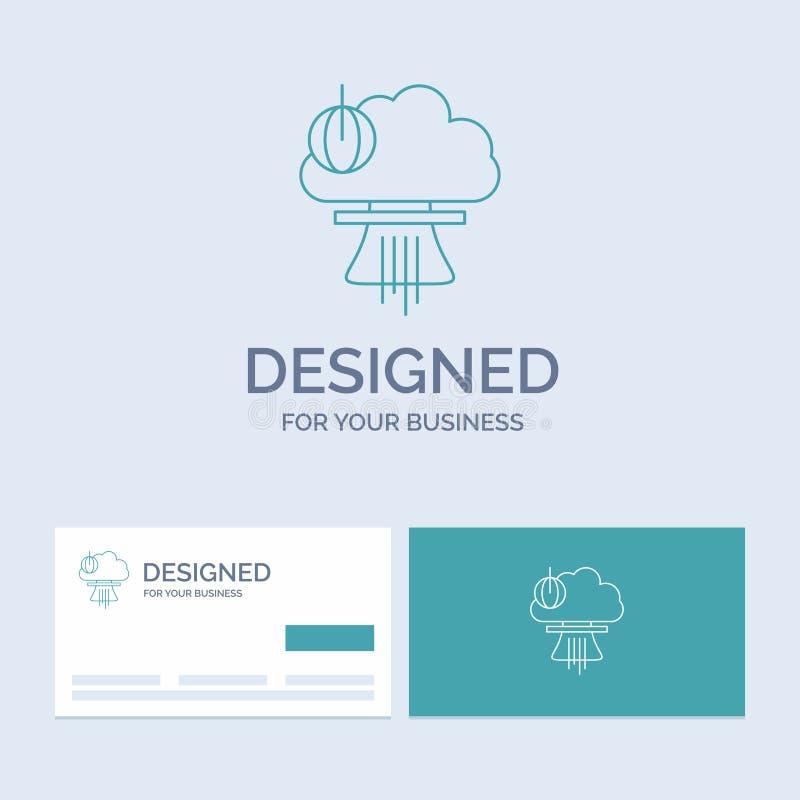 Bom, explosie, kern, speciaal, oorlogszaken Logo Line Icon Symbol voor uw zaken Turkooise Visitekaartjes met Merkembleem vector illustratie