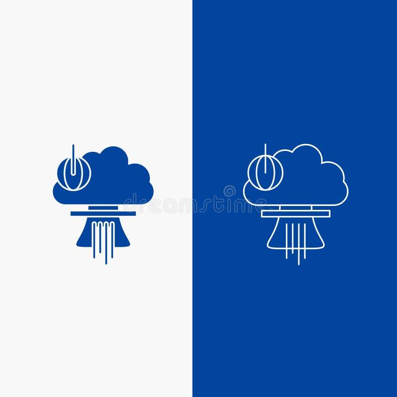 Bom, explosie, kern, speciale, oorlogslijn en Glyph-Webknoop in Blauwe kleuren Verticale Banner voor UI en UX, website of mobiel vector illustratie