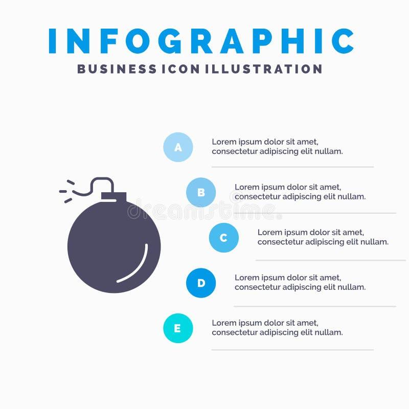 Bom, Explosief, de Presentatiemalplaatje van Explosieinfographics 5 stappenpresentatie stock illustratie