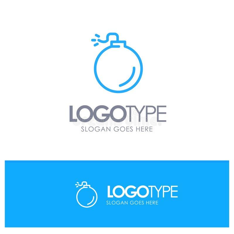 Bom, Explosief, Explosie Blauw Logo Line Style stock illustratie