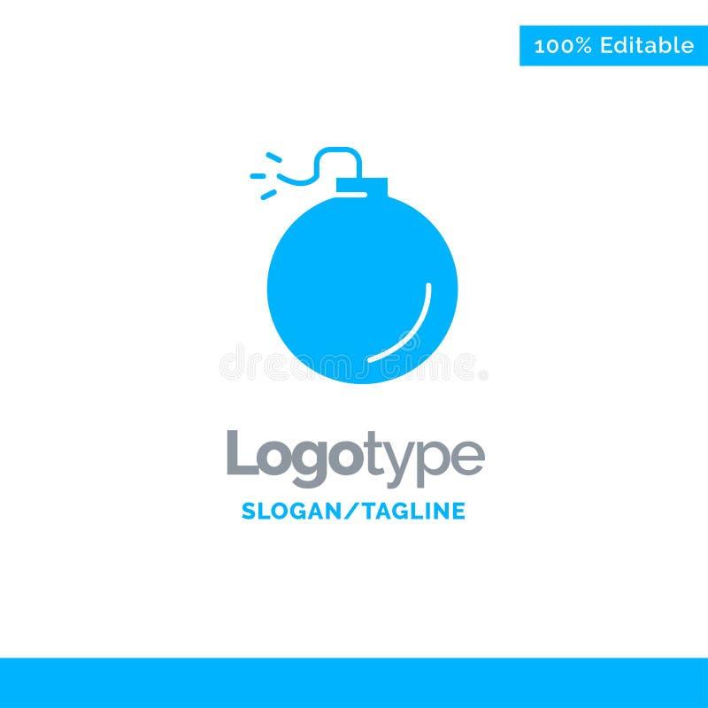 Bom, Explosief, Explosie Blauwe Zaken Logo Template stock illustratie