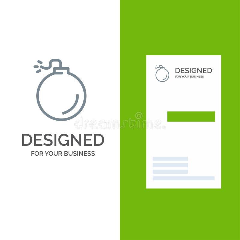 Bom, Explosief, Explosie Grey Logo Design en Visitekaartjemalplaatje vector illustratie