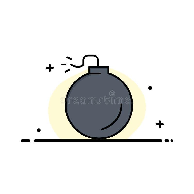 Bom, Explosief, Explosiezaken Logo Template vlakke kleur royalty-vrije illustratie