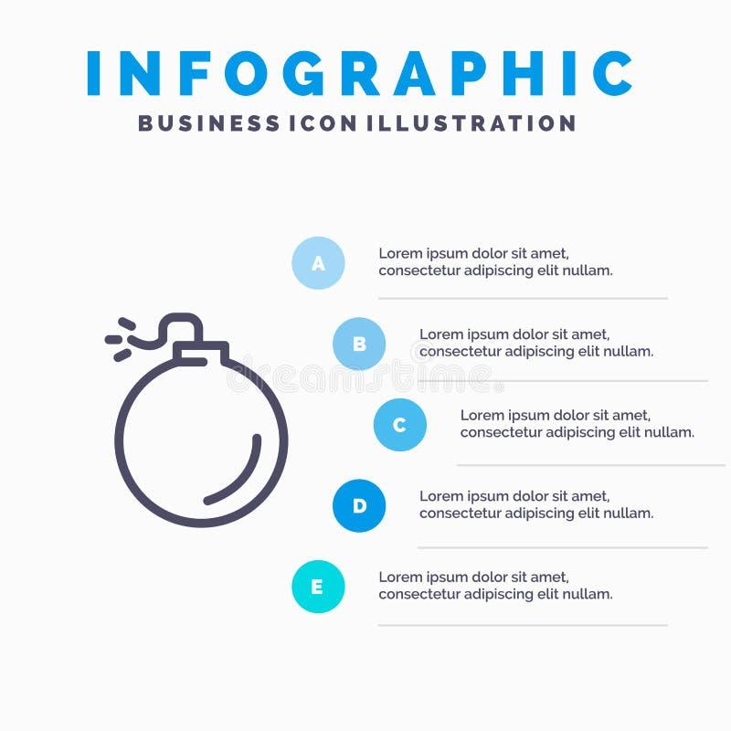 Bom, Explosief, Malplaatje 5 van Explosie Blauw Infographics Stappen Het vectormalplaatje van het lijnpictogram stock illustratie