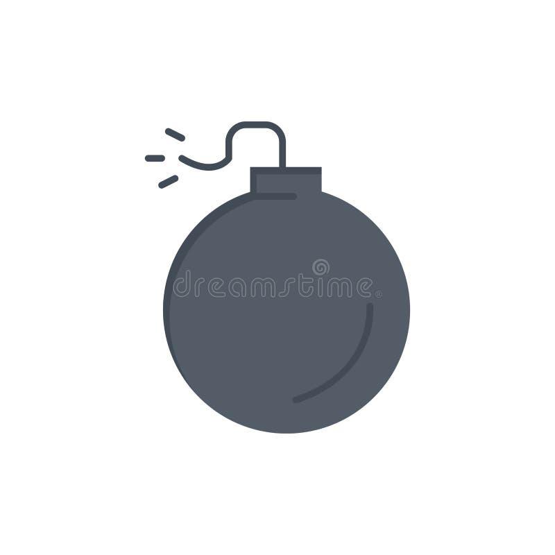 Bom, Explosief, Pictogram van de Explosie het Vlakke Kleur Het vectormalplaatje van de pictogrambanner vector illustratie
