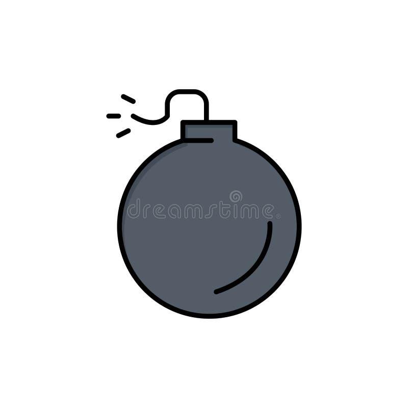 Bom, Explosief, Pictogram van de Explosie het Vlakke Kleur Het vectormalplaatje van de pictogrambanner royalty-vrije illustratie