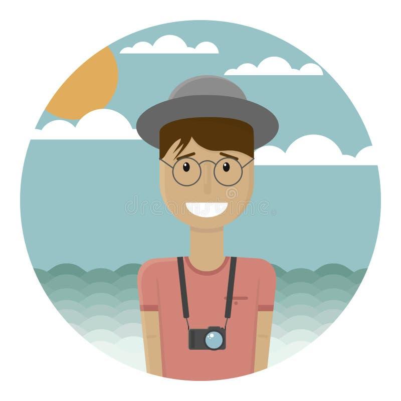 Bom indivíduo novo de sorriso em um chapéu cinzento na praia Paisagem tropical no fundo Bronzeado na cara e nas mãos Câmera E ilustração royalty free