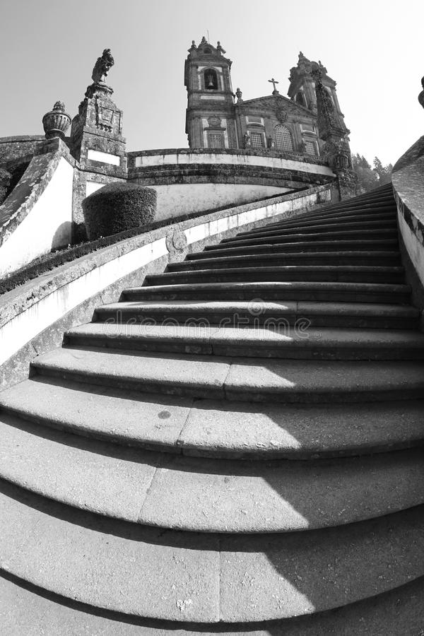 Bom Jesus de Braga. Portugal (black and white photo stock image