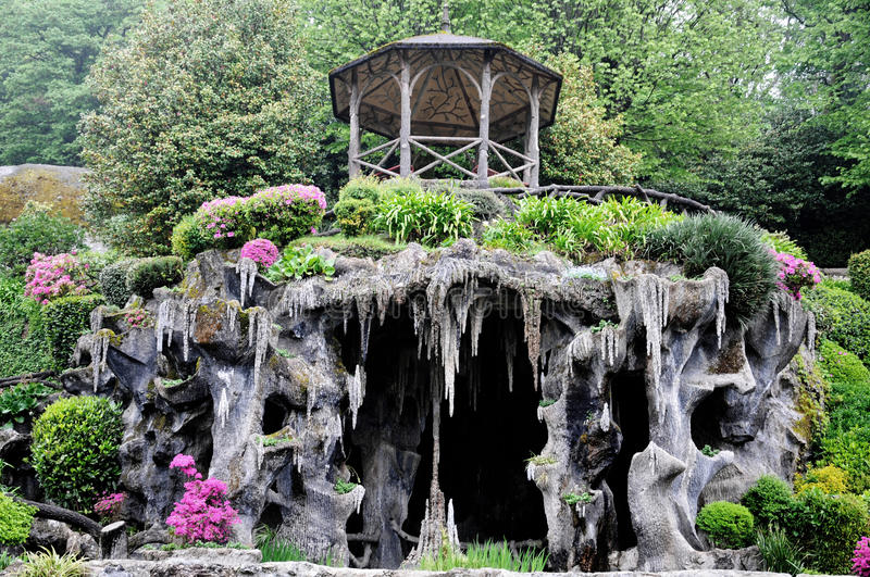 Bom Jesus do Monte garden. Garden with cave at Bom Jesus do Monte is a Portuguese sanctuary in Tenões, outside the city of Braga, in northern Portugal. Its stock photos